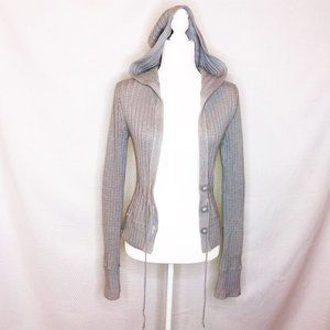 Aeropostale Gray Buttoned Hoodie Knit Sweater 656